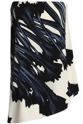 HALSTON HERITAGE Strapless asymmetric printed crepe top