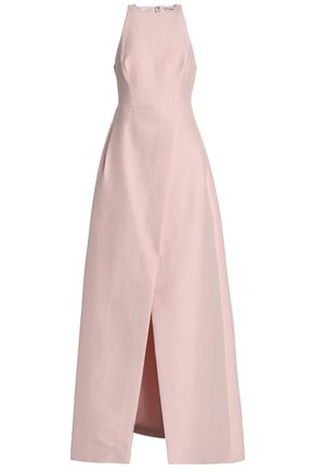HALSTON HERITAGE Wrap-effect cotton and silk-blend maxi dress