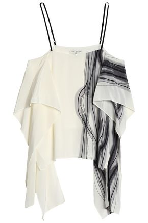 HALSTON HERITAGE Draped printed silk top