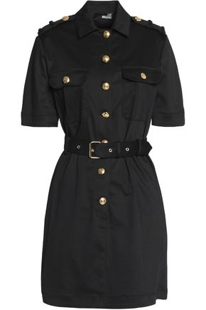 LOVE MOSCHINO Button-detailed twill mini dress