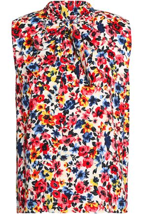 LOVE MOSCHINO Draped floral-print crepe top