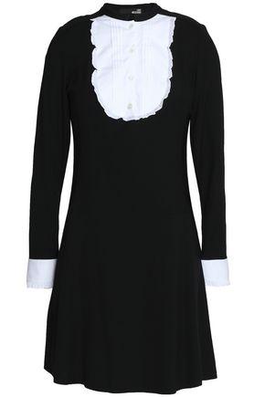 LOVE MOSCHINO Poplin-paneled crepe mini dress