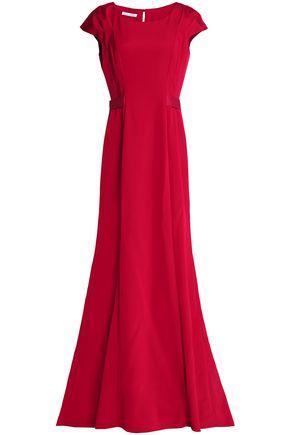 OSCAR DE LA RENTA Grosgrain-trimmed duchesse-satin gown