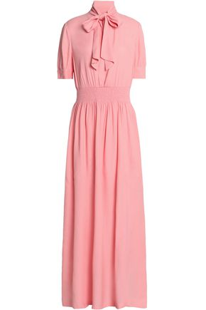 LOVE MOSCHINO Pussy-bow shirred crepe maxi dress