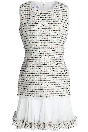 OSCAR DE LA RENTA Silk georgette-paneled sequined bouclé-tweed dress