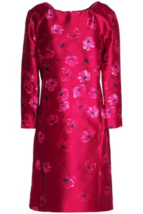 OSCAR DE LA RENTA Floral-print silk and cotton-blend satin-twill dress