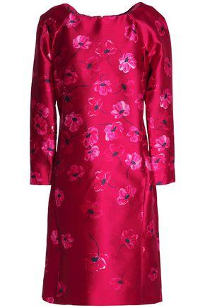 OSCAR DE LA RENTA Floral-print silk and cotton-blend satin-twill dress