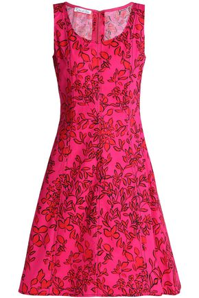 OSCAR DE LA RENTA Floral-print cotton-poplin dress
