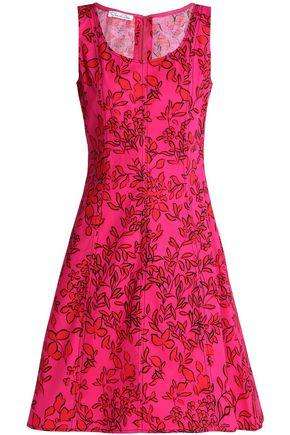 OSCAR DE LA RENTA Floral-print cotton-poplin dress