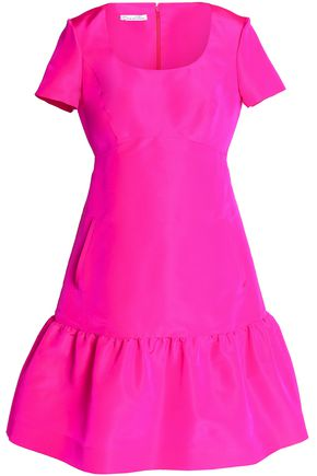 OSCAR DE LA RENTA Fluted neon silk dress
