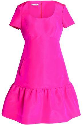 OSCAR DE LA RENTA Fluted neon silk dress