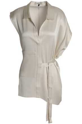HALSTON HERITAGE Belted satin top
