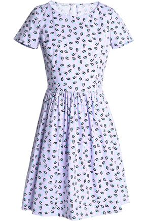 OSCAR DE LA RENTA Gathered printed cotton-poplin dress
