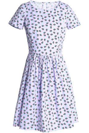 OSCAR DE LA RENTA Gathered printed cotton-poplin dress