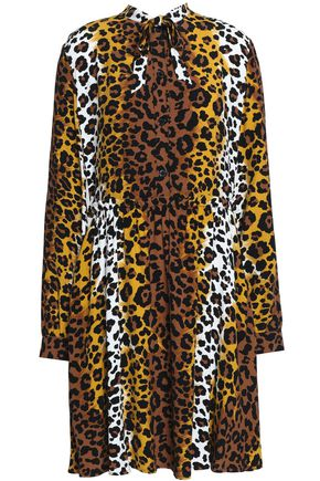 LOVE MOSCHINO Leopard-print crepe mini dress