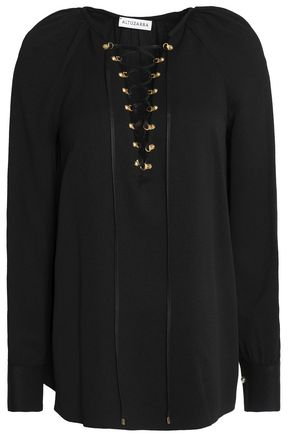 ALTUZARRA Lace-up silk-blend top