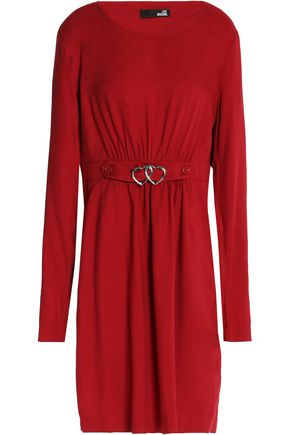LOVE MOSCHINO Belted gathered twill mini dress