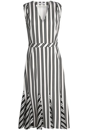 ALTUZARRA Pleated striped wool-blend dress