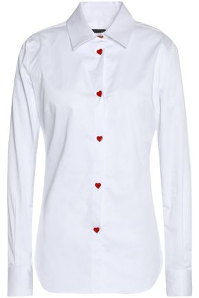LOVE MOSCHINO Stretch cotton-poplin shirt