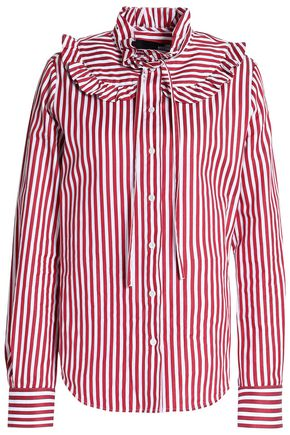 LOVE MOSCHINO Ruffle-trimmed striped cotton-poplin shirt