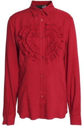 LOVE MOSCHINO Ruffled twill shirt