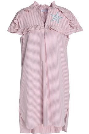 SANDRO Paris Embroidered ruffle-trimmed striped cotton mini dress