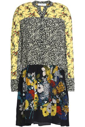 SANDRO Paris Paneled floral-print crepe mini dress
