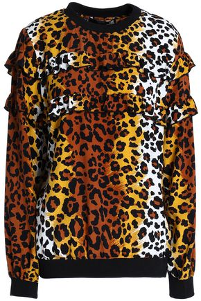 LOVE MOSCHINO Ruffle-trimmed leopard-print crepe top