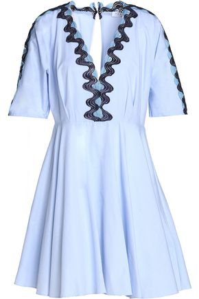 SANDRO Paris Embroidered pleated cotton mini dress