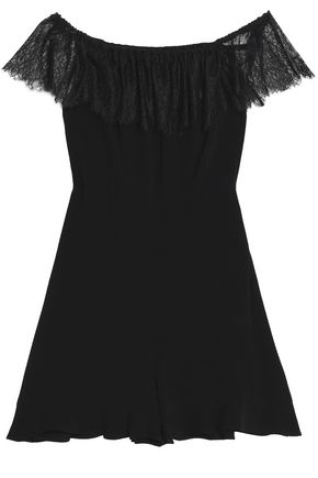SANDRO Paris Off-the-shoulder lace-trimmed crepe playsuit