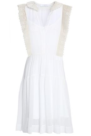 SANDRO Paris Lace-trimmed pleated crepe dress