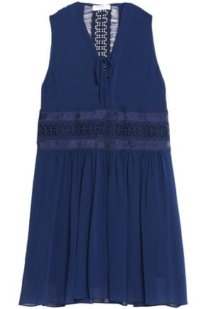 SANDRO_XX Paradise lace-paneled chiffon mini dress