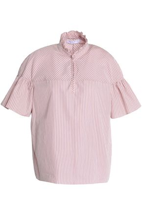 SANDRO Paris Embroidered striped cotton-poplin shirt