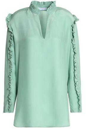 SANDRO Ruffle-trimmed silk crepe de chine blouse
