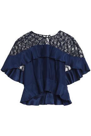 SANDRO Paris Lace-paneled ruffled silk crepe de chine top