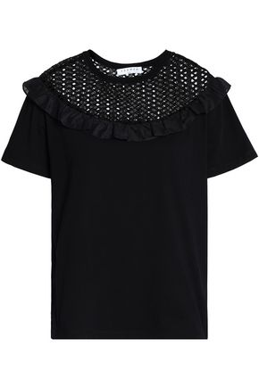 SANDRO Paris Ruffle-trimmed open-knit and cotton-jersey top