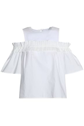 SANDRO Cold-shoulder crepe de chine-paneled pleated cotton-poplin blouse