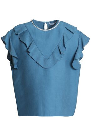 SANDRO Bead-embellished ruffle-trimmed faille top