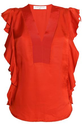 SANDRO Ruffle-trimmed twill top