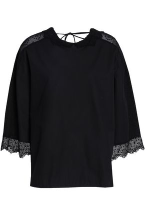 SANDRO_XX Point d'esprit-trimmed cotton-poplin top