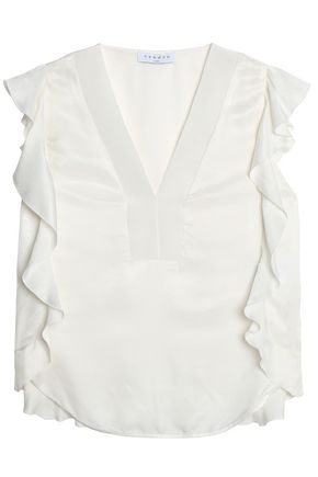 SANDRO Paris Ruffle-trimmed twill top