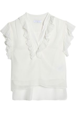 SANDRO Paris Ruffle-trimmed georgette top