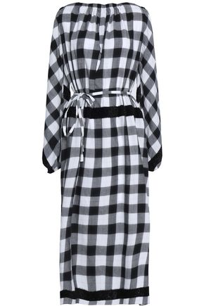 TIBI Belted checked cotton-blend midi dress