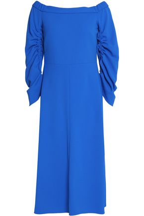 TIBI Off-the-shoulder ruched crepe midi dress
