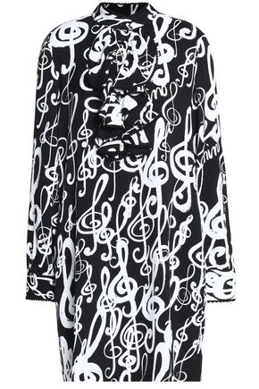 LOVE MOSCHINO Printed ruffle-trimmed crepe mini dress