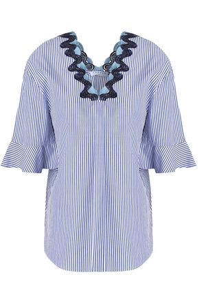 SANDRO Embroidered pinstriped cotton-blend tunic