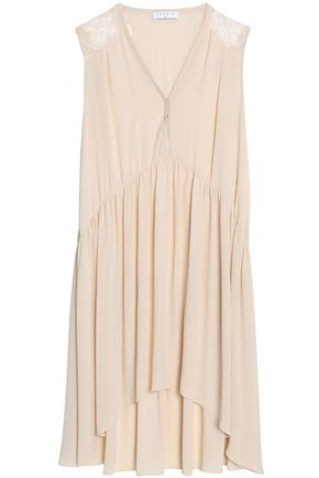 SANDRO Paris Lace-paneled pleated crepe de chine dress