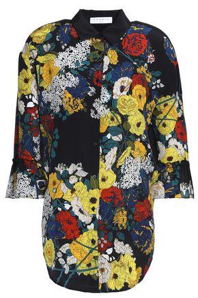 SANDRO Paris Floral-print silk crepe de chine shirt