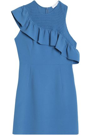 SANDRO Paris Ruffle-trimmed smocked cloqué mini dress