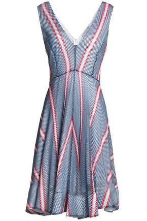 SANDRO Paris Flared striped crocheted dress